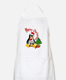 Merry Christmas Penguins BBQ Apron