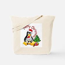 Merry Christmas Penguins Tote Bag