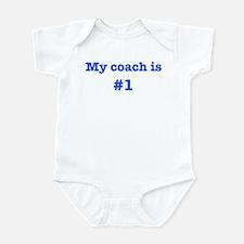 My coach is #1-blue Infant Bodysuit