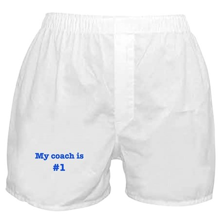 My coach is #1-blue Boxer Shorts