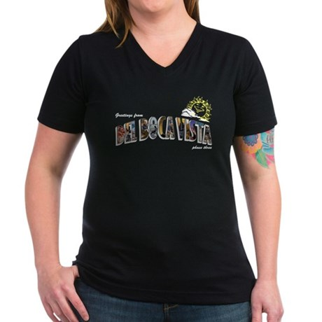 Del Boca Vista Women's V-Neck Dark T-Shirt