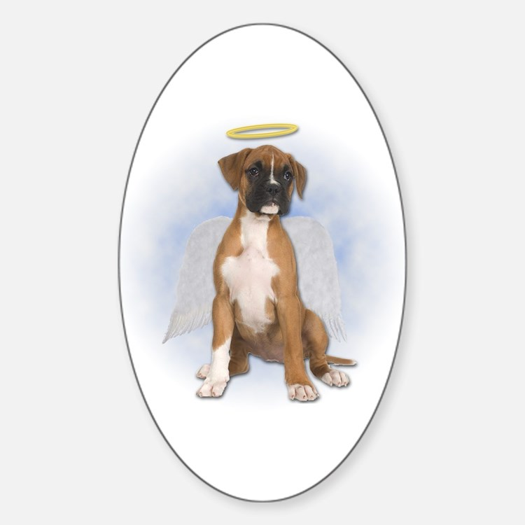 Angel Boxer Puppy Oval Decal