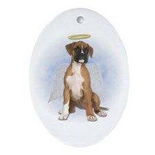 Angel Boxer Puppy Oval Ornament
