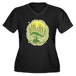 Green Menorah Tree Women's Plus Size V-Neck Dark T
