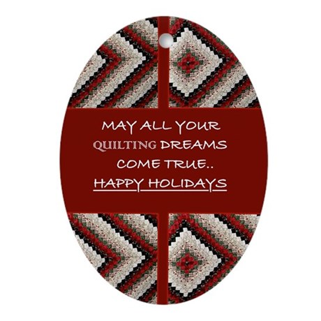 Quilting Christmas Oval Ornament