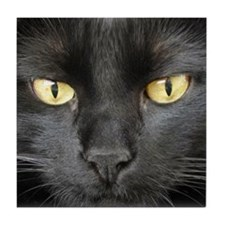 Dangerously Beautiful Black Cat Tile Coaster