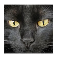 Dangerously Beautiful Black Cat Tile Coaster