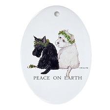 Scottish Terrier Westie Xmas Oval Ornament