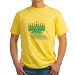 Blue Menorah Yellow T-Shirt