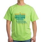 Blue Menorah Green T-Shirt