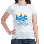 Blue Menorah Jr. Ringer T-Shirt