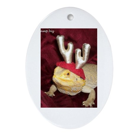 Reindeer Beardie 2 Oval Ornament
