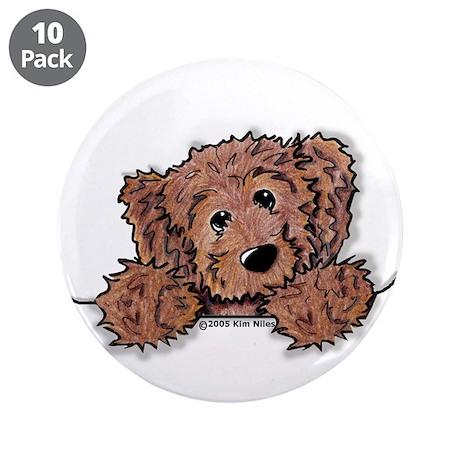 """Choc. Doodle Pocket Pup 3.5"""" Button (10 pack)"""
