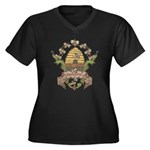 Beekeeper Crest Women's Plus Size V-Neck Dark T-Sh