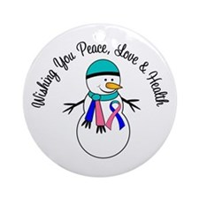 Christmas Snowman Thyroid Cancer Ornament (Round)