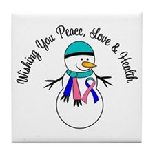 Christmas Snowman Thyroid Cancer Tile Coaster