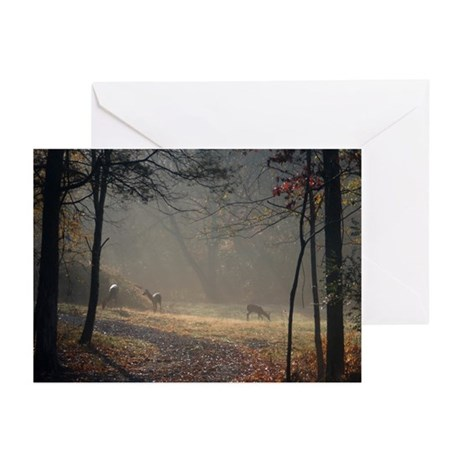 Deer at Sunrise Greeting Cards