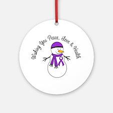 Christmas Snowman Purple Ribbon Ornament (Round)