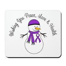 Christmas Snowman Purple Ribbon Mousepad