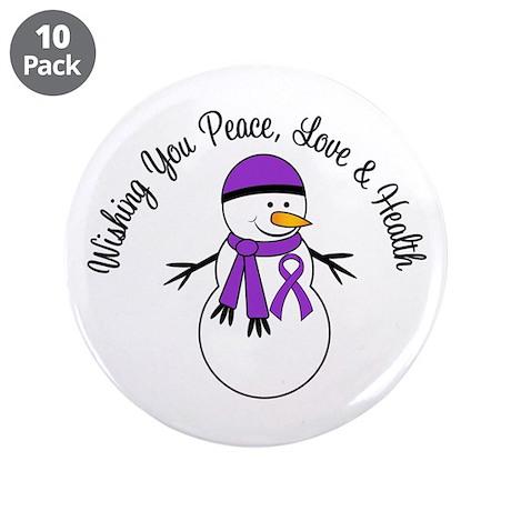 """Christmas Snowman Purple Ribbon 3.5"""" Button (10 pa"""