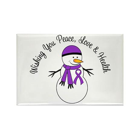 Christmas Snowman Purple Ribbon Rectangle Magnet (