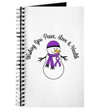 Christmas Snowman Purple Ribbon Journal