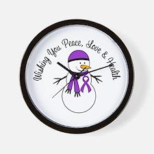 Christmas Snowman Purple Ribbon Wall Clock