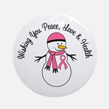 Christmas Snowman Breast Cancer Ornament (Round)