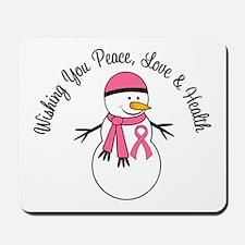 Christmas Snowman Breast Cancer Mousepad