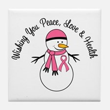 Christmas Snowman Breast Cancer Tile Coaster