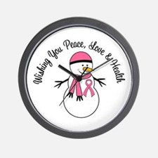 Christmas Snowman Breast Cancer Wall Clock