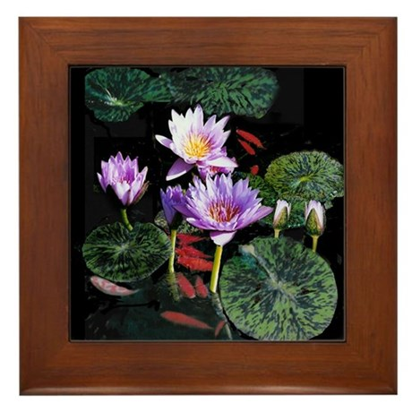 Blue Water Lilies and Fish Framed Tile