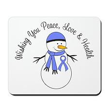 Christmas Snowman Periwinkle Ribbon Mousepad