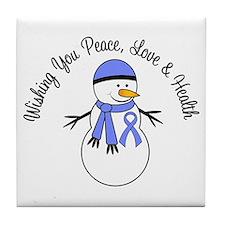 Christmas Snowman Periwinkle Ribbon Tile Coaster