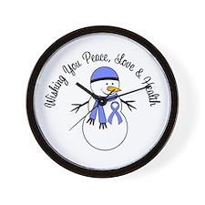 Christmas Snowman Periwinkle Ribbon Wall Clock