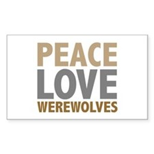 Peace Love Werewolves Twilight Rectangle Decal