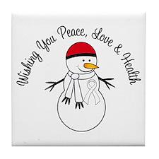Christmas Snowman White Ribbon Tile Coaster