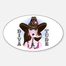 Diva of a Cowgirl Oval Decal