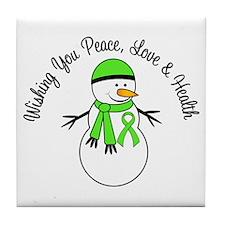 Christmas Snowman Lymphoma Tile Coaster