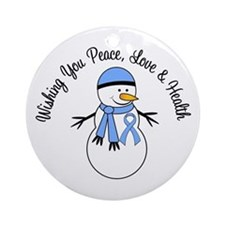 Christmas Snowman Lt Blue Ribbon Ornament (Round)