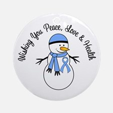 Christmas Snowman Lt Blue Ribbon Ornament (Round)