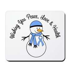 Christmas Snowman Lt Blue Ribbon Mousepad