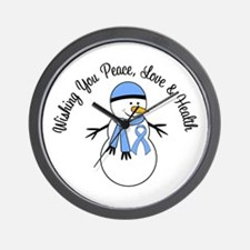Christmas Snowman Lt Blue Ribbon Wall Clock