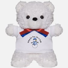 Christmas Snowman Lt Blue Ribbon Teddy Bear