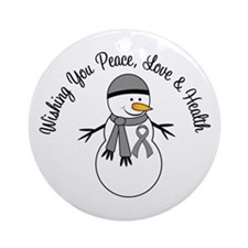Christmas Snowman Grey Ribbon Ornament (Round)