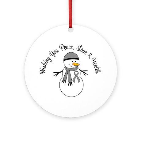 Christmas Snowman Grey Ribbon Ornament (Round)