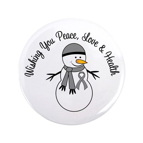 """Christmas Snowman Grey Ribbon 3.5"""" Button"""
