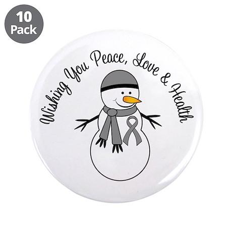 "Christmas Snowman Grey Ribbon 3.5"" Button (10 pack"