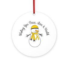 Christmas Snowman Gold Ribbon Ornament (Round)