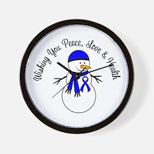 Christmas Snowman Blue Ribbon Wall Clock